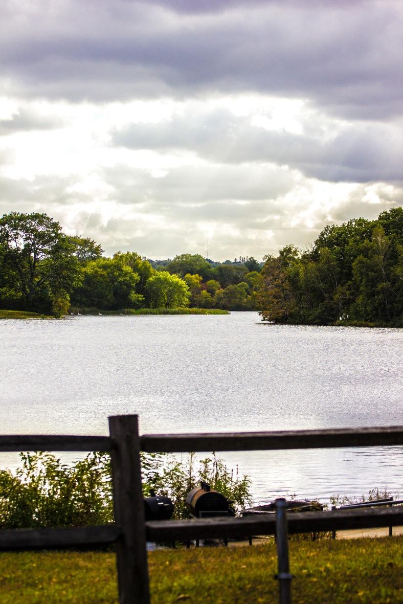 A view across Spy Pond on an overcast autumn day. October 04, 2015