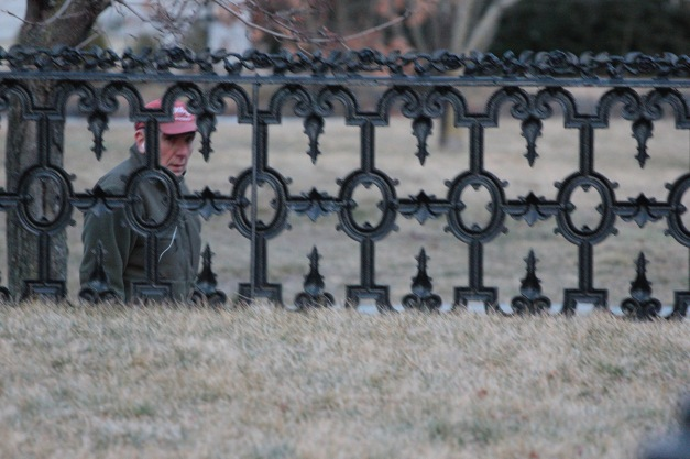 A man walks down Water Street by a cast iron fence. February 28, 2012.