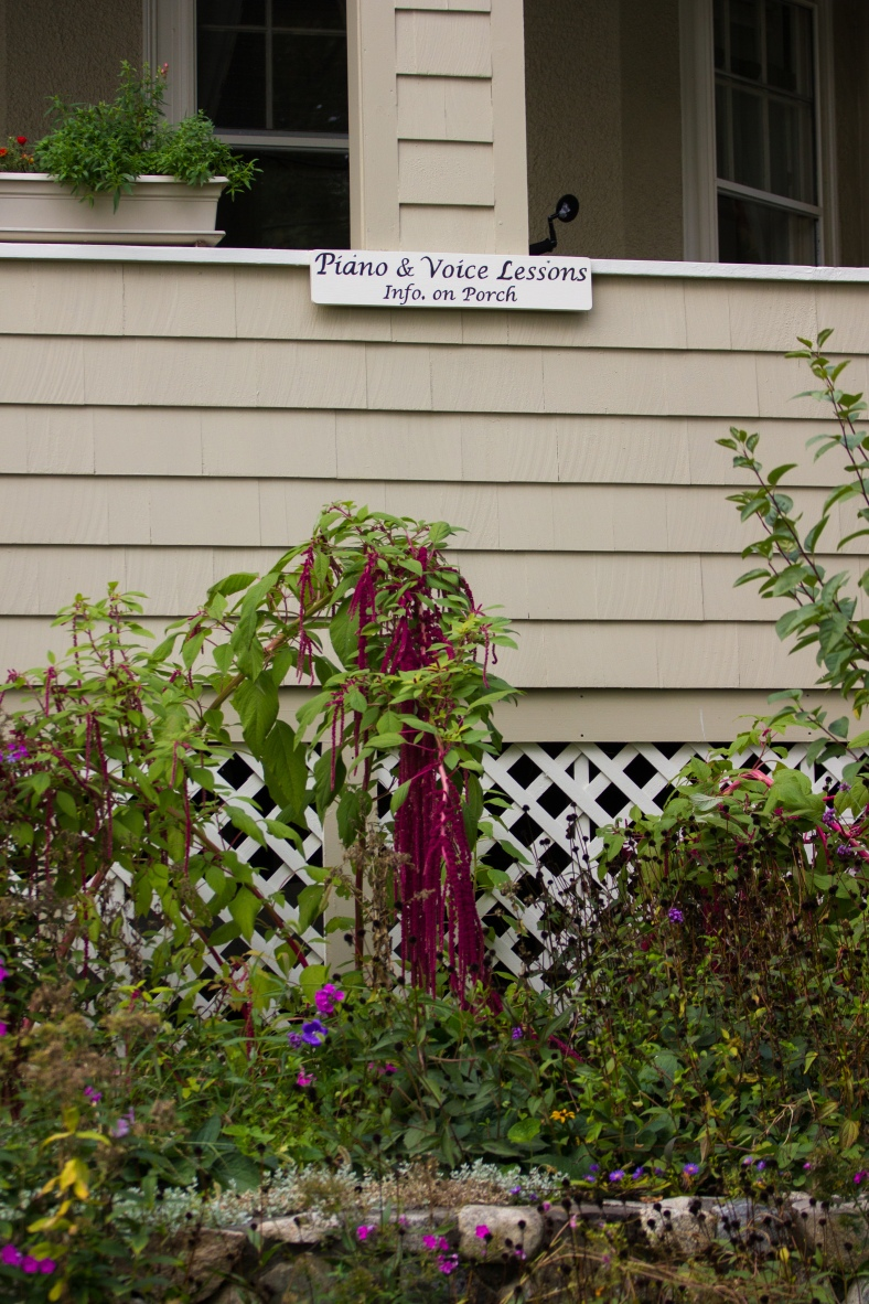 A sign advertising piano and voice lessons on a Lombard Terrace home. October 04, 2015.