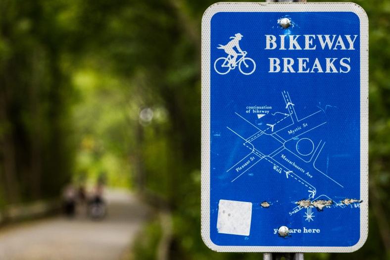 A sign detailing the Minuteman Bikeway's route through Arlington Center. October 04, 2015.