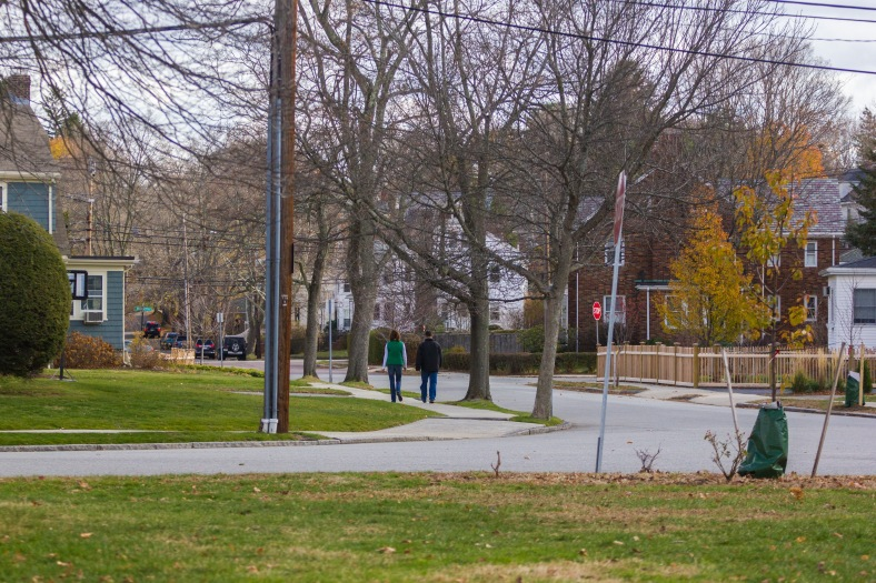 A couple out for a walk down Wildwood Avenue before Thanksgiving dinner. November 26, 2015.