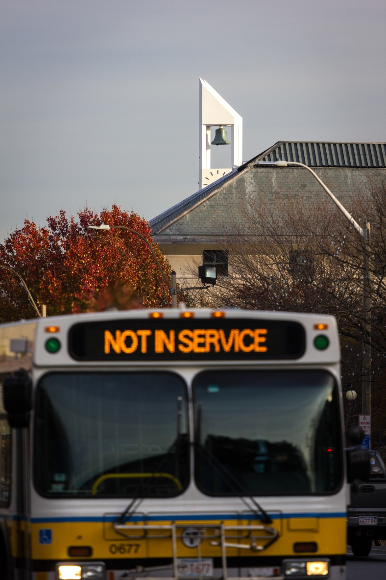 An MBTA bus, not in service, along Massachusetts Avenue November 15, 2013.