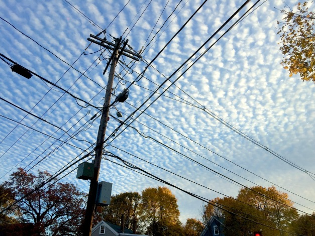 Altocumulus clouds over Arlington as the sun sets on Halloween. October 31, 2015.