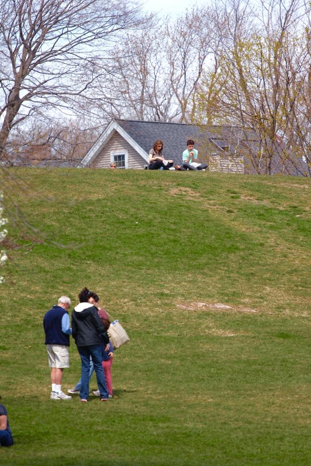 People enjoy Robbins Farm park on a spring day. April 14, 2012.