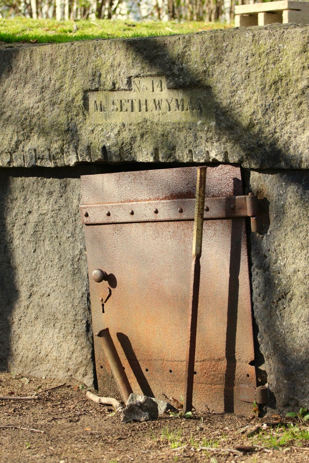 Mausoleum number fourteen, Seth Wyman's, in the Old Burying Ground. April 4, 2012.