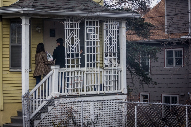 A couple arrives for Thanksgiving dinner at a Lockeland Avenue home. November 26, 2015. SC