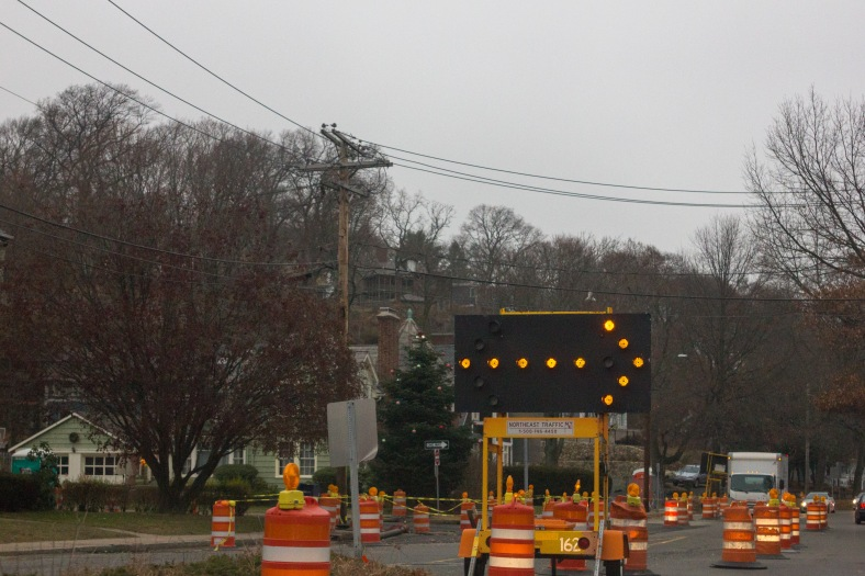Road work necessitates a lane shift on route 60 on the Arlington border. December 14, 2015.