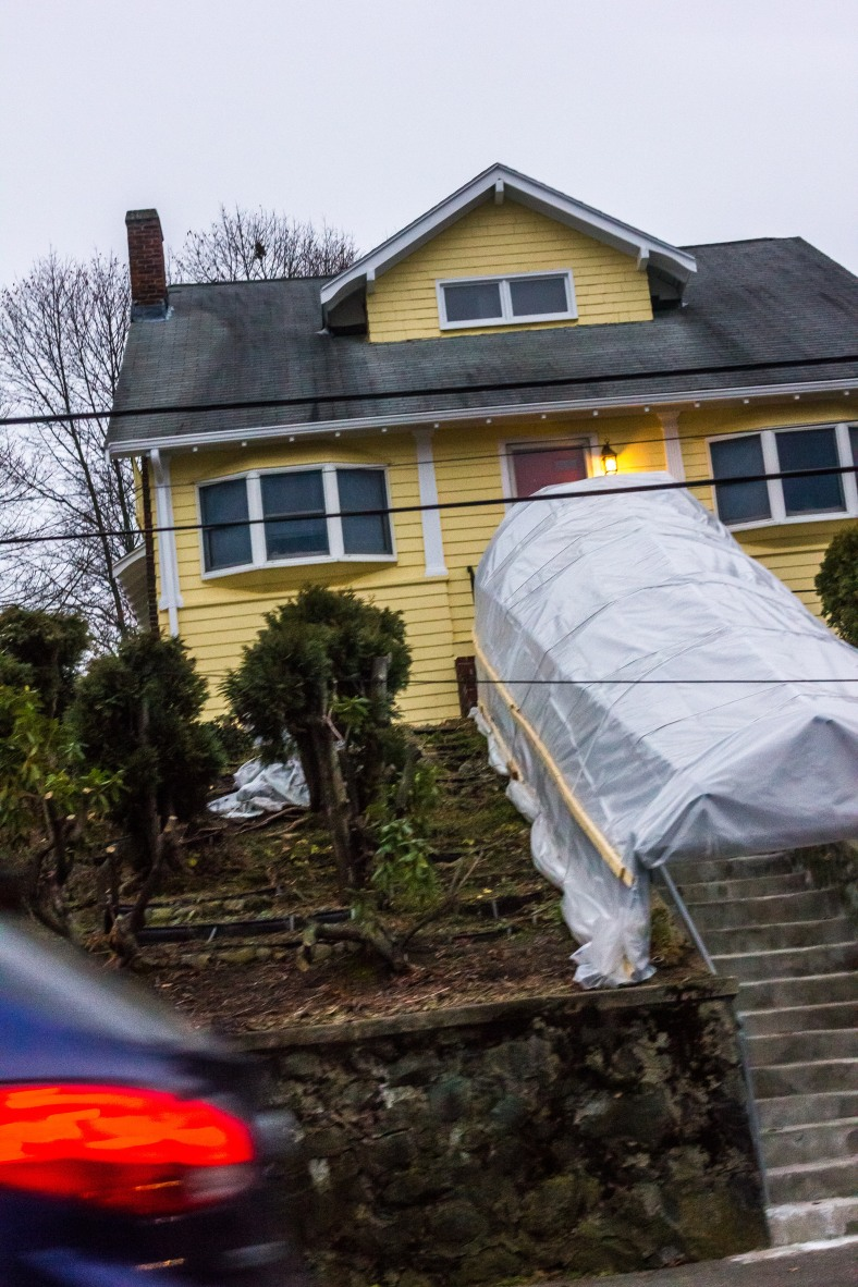 A covered stairway up to a Massachusetts Avenue home. December 14, 2015.