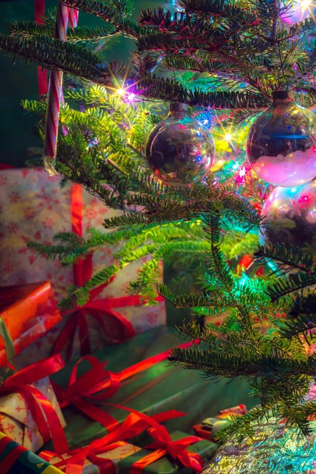 An Xmas tree on Xmas night. December 25, 2014.