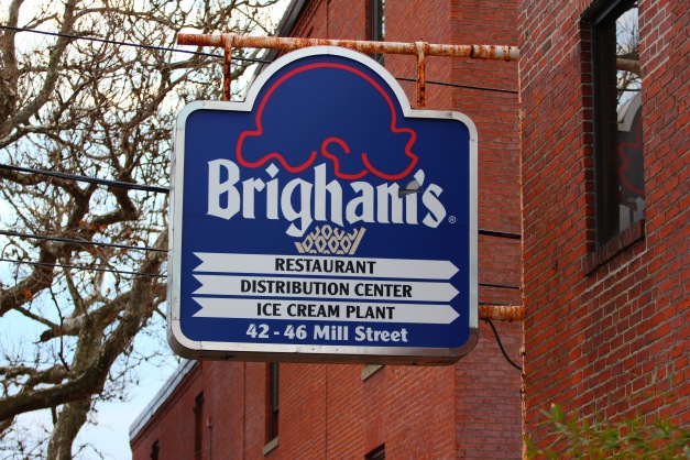 The sign along Mill Street pointing to Brigham's restaurant, distribution, and ice cream plant, a site that now is Brigham Square Apartments. January 6, 2012.