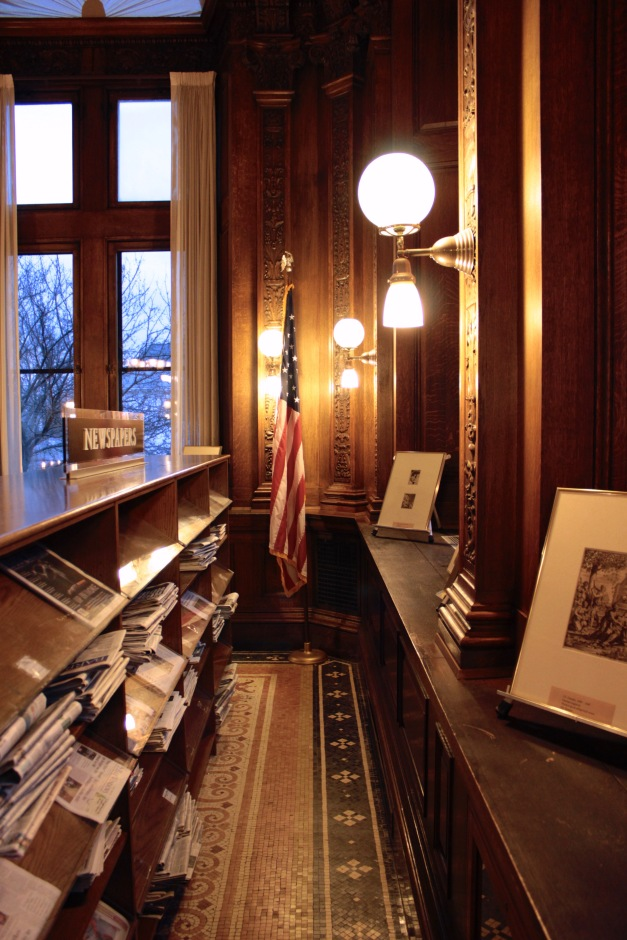 A corner of the periodicals room in the Robbins Library. January 6, 2012.