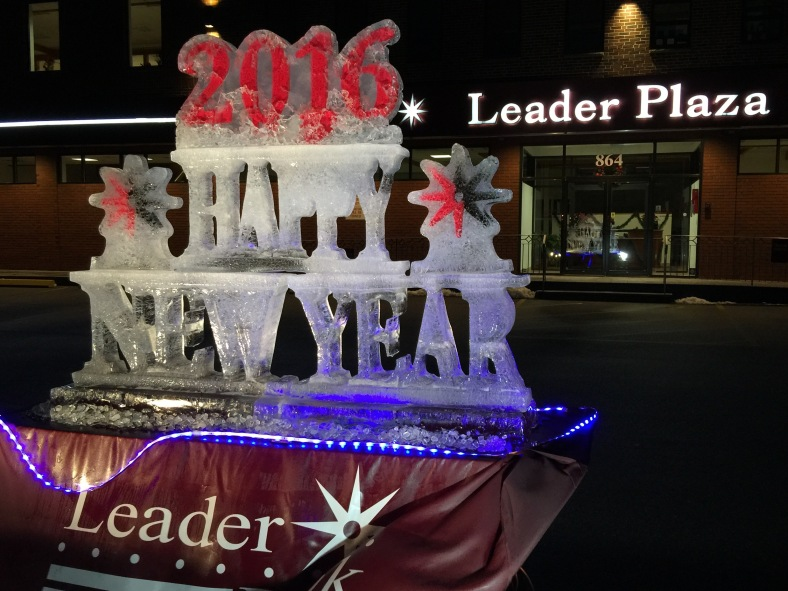 The annual new year ice sculpture at Leader Plaza. December 31, 2015.