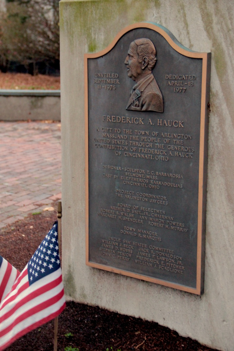 A plaque on the side of the Uncle Sam statue in Arlington Center describing the people who made it possible. November 23, 2011.